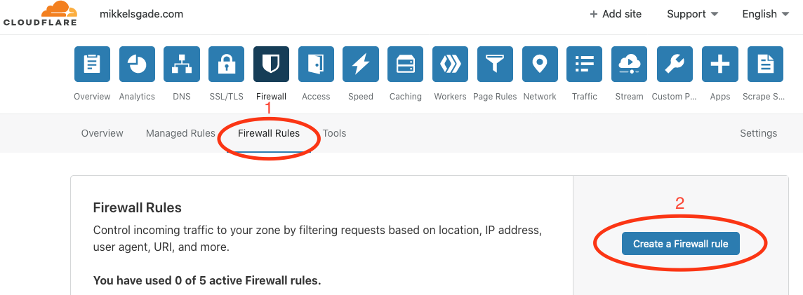 Click on Firewall Rules